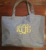 MONOGRAM GINGHAM TOTE BAG NAVY