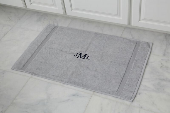 EMBROIDERED BATH MAT 2PC GRAY SET
