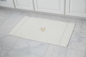 EMBROIDERED BATH MAT 2PC IVORY SET