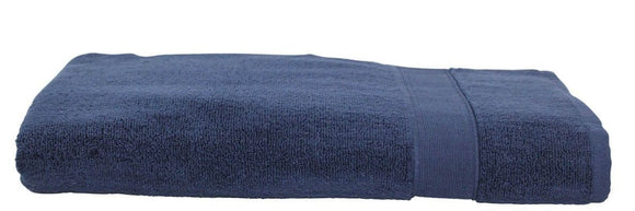 EMBROIDERED LUXURY COTTON BATH SHEET NAVY
