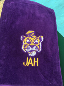 EMBROIDERED BEACH TOWEL MIKE THE TIGER