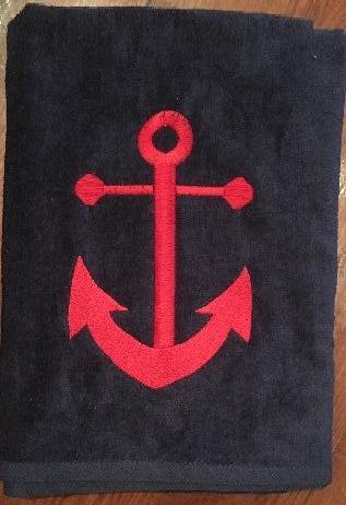 MONOGRAM BEACH TOWEL BIG ANCHOR