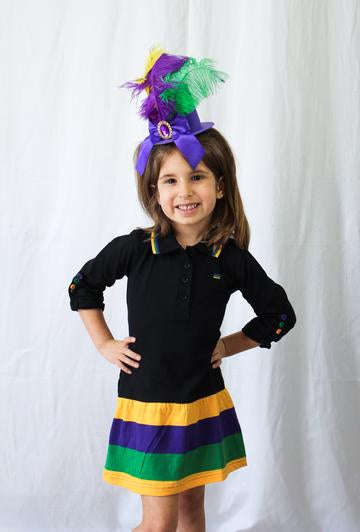 MARDI GRAS STRIPED KIDS DRESS
