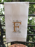 MONOGRAM EMBROIDERED GUEST TOWEL BOURBON FONT