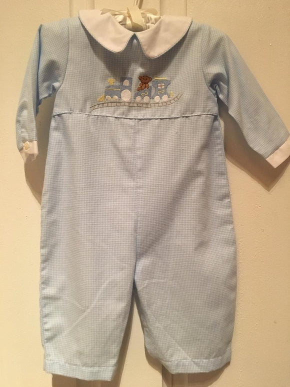 BOYS ONE PIECE WITH TRAIN APPLIQUE