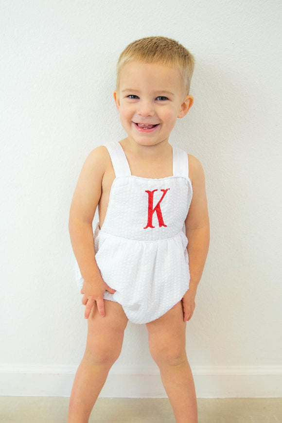 MONOGRAM SEERSUCKER SUNSUIT OR BUBBLE