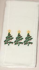 BURP CLOTH CHRISTMAS EMBROIDERED TREES