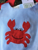 CRAB APPLIQUE CHECK DRESS WITH BLOOMERS