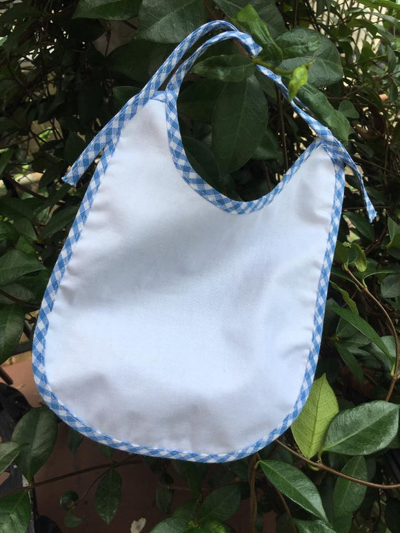 MONOGRAM WHITE/BLUE CHECK TRIM BIB
