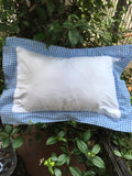 MONOGRAM WHITE/BLUE CHECK TRIM PILLOW