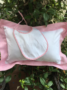MONOGRAM WHITE/PINK CHECK TRIM PILLOW