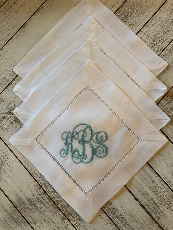 MONOGRAM LINEN COCKTAIL NAPKINS S/4