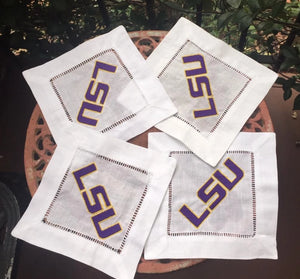 EMBROIDERED LSU LOGO COCKTAIL NAPKINS S/4