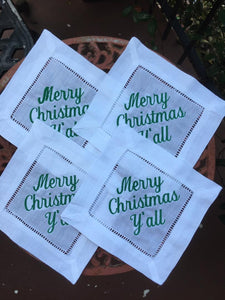 EMBROIDERED COCKTAIL NAPKINS MERRY CHRISTMAS Y'ALL GREEN