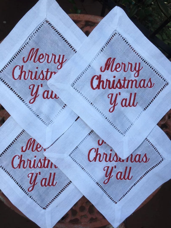 EMBROIDERED COCKTAIL NAPKINS MERRY CHRISTMAS Y'ALL RED