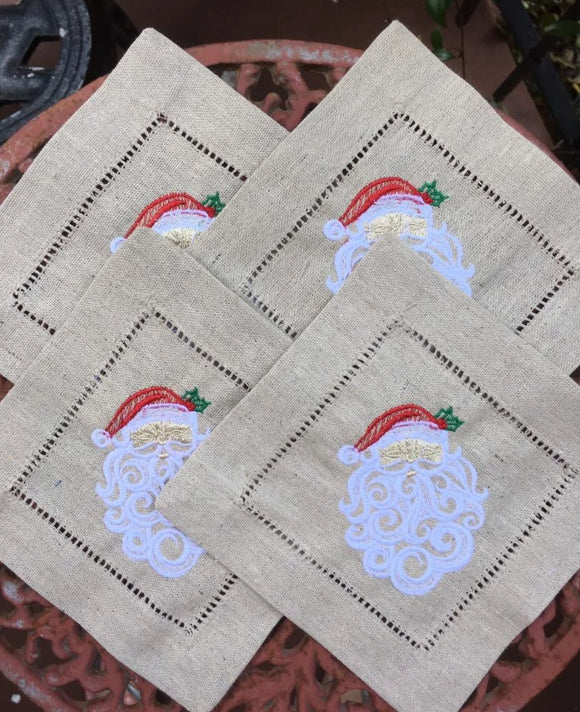 EMBROIDERED CHRISTMAS COCKTAIL NAPKINS BEAUTIFUL SANTA