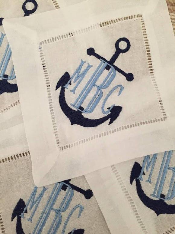 NAUTICAL MONOGRAM LINEN COCKTAIL NAPKINS S/4