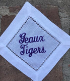 EMBROIDERED LSU TIGERS COCKTAIL NAPKINS S/4