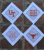 EMBROIDERED UT COCKTAIL NAPKINS S/4
