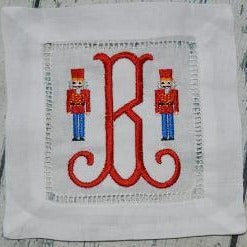 EMBROIDERED COCKTAIL NAPKINS TOULOUSE FONT INITIAL with NUTCRACKERS