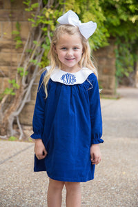 CORDUROY MONOGRAM PLATTER COLLAR BISHOP NAVY DRESS