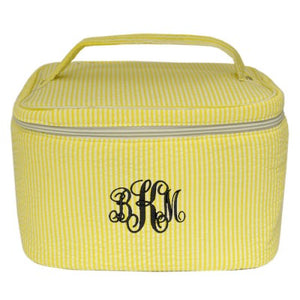 MONOGRAM SEERSUCKER YELLOW TRAVEL COSMETIC BAG