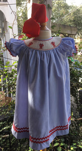 SMOCK CRAWFISH CHECK BISHOP DRESS