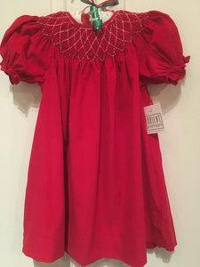 SMOCKED CHRISTMAS RED CORDUROY BISHOP DRESS