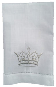 EMBROIDERED GUEST TOWEL SILVER CROWN LINEN
