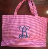 MONOGRAM GINGHAM TOTE BAG HOT PINK