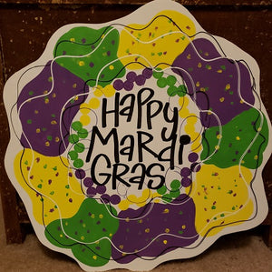 MARDI GRAS DOOR HANGER KING CAKE