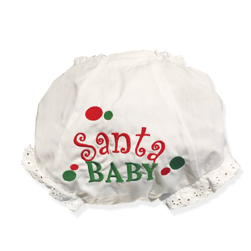 EMBROIDERED SANTA BABY EYELET DIAPER COVER OR PANTY