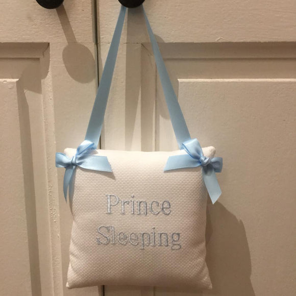 EMBROIDERED BABY HANGING DOOR PILLOW 'PRINCE SLEEPING'