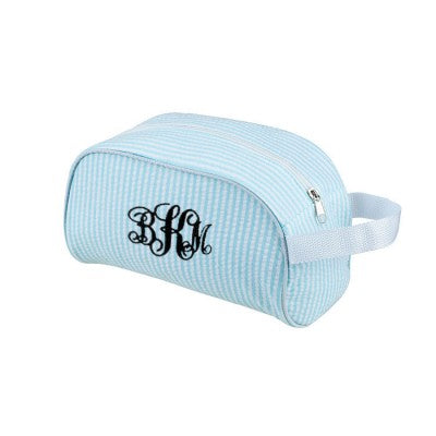MONOGRAM SEERSUCKER COSMETIC BAG or DOP KIT