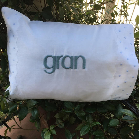 MONOGRAM PILLOW WITH INSERT EMBROIDERED BLUE DOTS