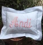 MONOGRAM PILLOW HEMSTITCH LINEN WHITE 12 x 16 FLANGE & INSERT