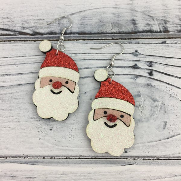 Glitter Santa Earrings