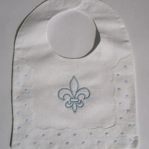 MONOGRAM LINEN BIB W BLUE DOTS AND FDL