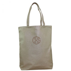 MONOGRAM METALLIC CANVAS SIMPLE TOTE BAG