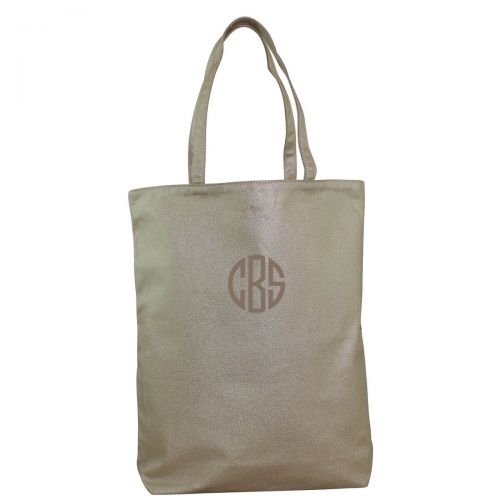 MONOGRAM METALLIC GOLD CANVAS SIMPLE TOTE BAG