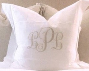 "MONOGRAM EURO SQUARE PILLOW HEMSTITCH LINEN WHITE 26""X 26"" FLANGE & INSERT"