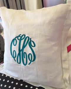 "MONOGRAM PILLOW LINEN EURO 32""X32"" WITH INSERT"