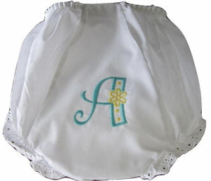 EMBROIDERED MONOGRAM EYELET DIAPER COVER DAISY FLOWER LETTER