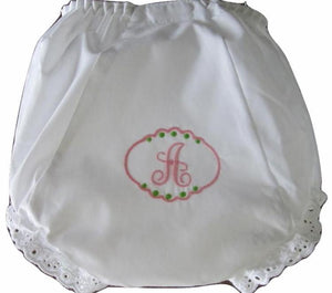 EMBROIDERED MONOGRAM EYELET DIAPER COVER LETTER PATCH