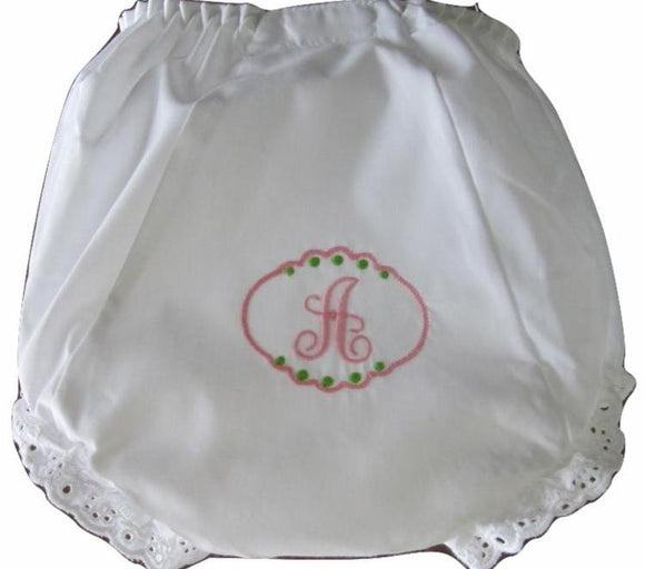 EMBROIDERED MONOGRAM EYELET DIAPER COVER INITIAL PATCH