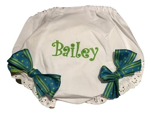 EMBROIDERED MONOGRAM EYELET DIAPER COVER NAME WITH GREEN STRIPE BOW