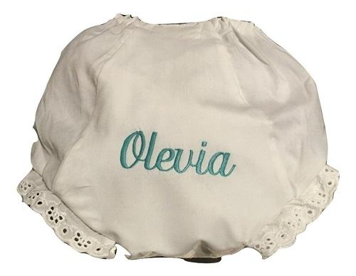 EMBROIDERED MONOGRAM NAME EYELET DIAPER COVER