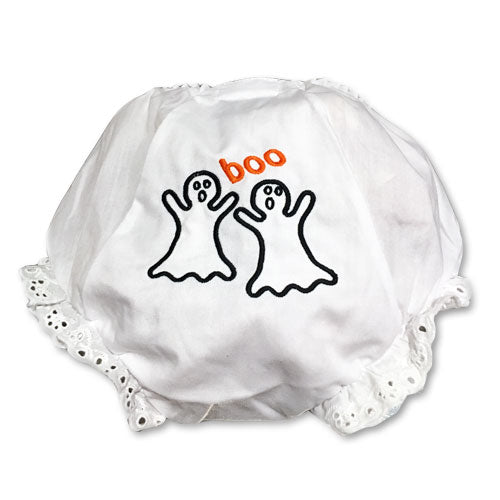 EMBROIDERED BOO BABY EYELET DIAPER COVER OR PANTY