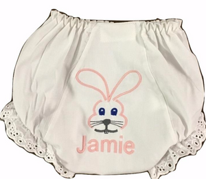 EMBROIDERED MONOGRAM EYELET PANTIES WITH BUNNY