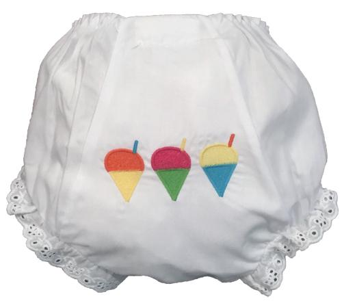 EMBROIDERED MULTI SNOWBALL EYELET DIAPER COVER